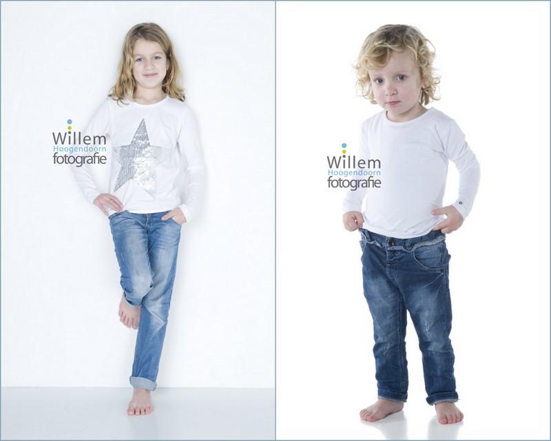 familiefotogrfie zusjes spontane fotografie kinderen fotograaf Woerden spijkerbroek wit T-shirt Willem Hoogendoorn